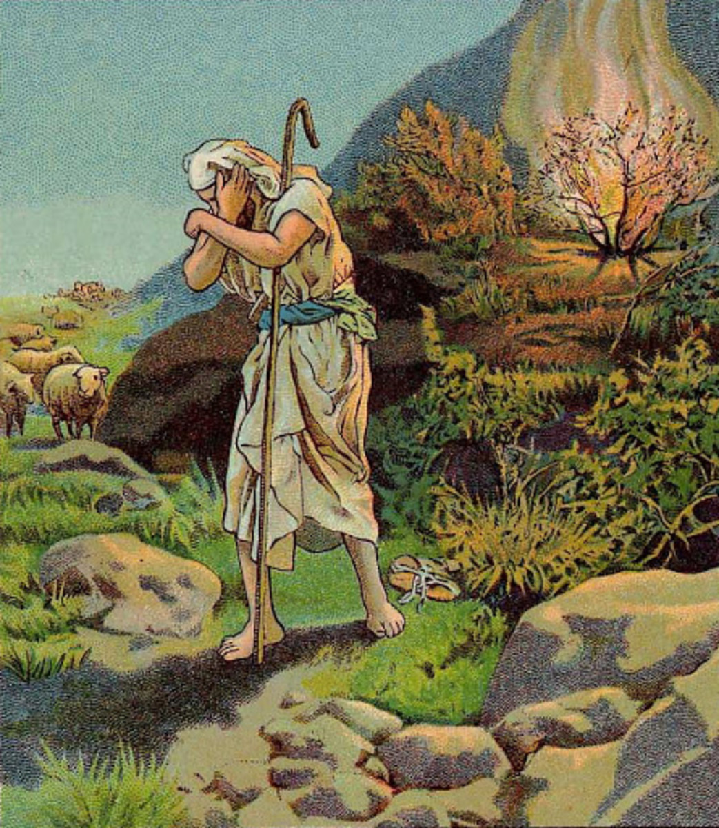 Moses took off his shoes as God commanded.