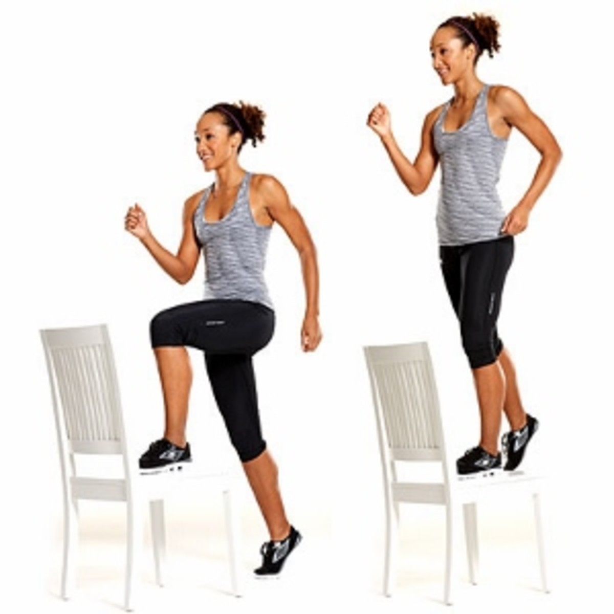 Step-ups: A weighted or unweighted lower body movement utilized by hurdlers to to improve strength as well as balance and coordination. This exercise's emphasizes primarily the quadriceps but also involves the glutes and hamstrings.