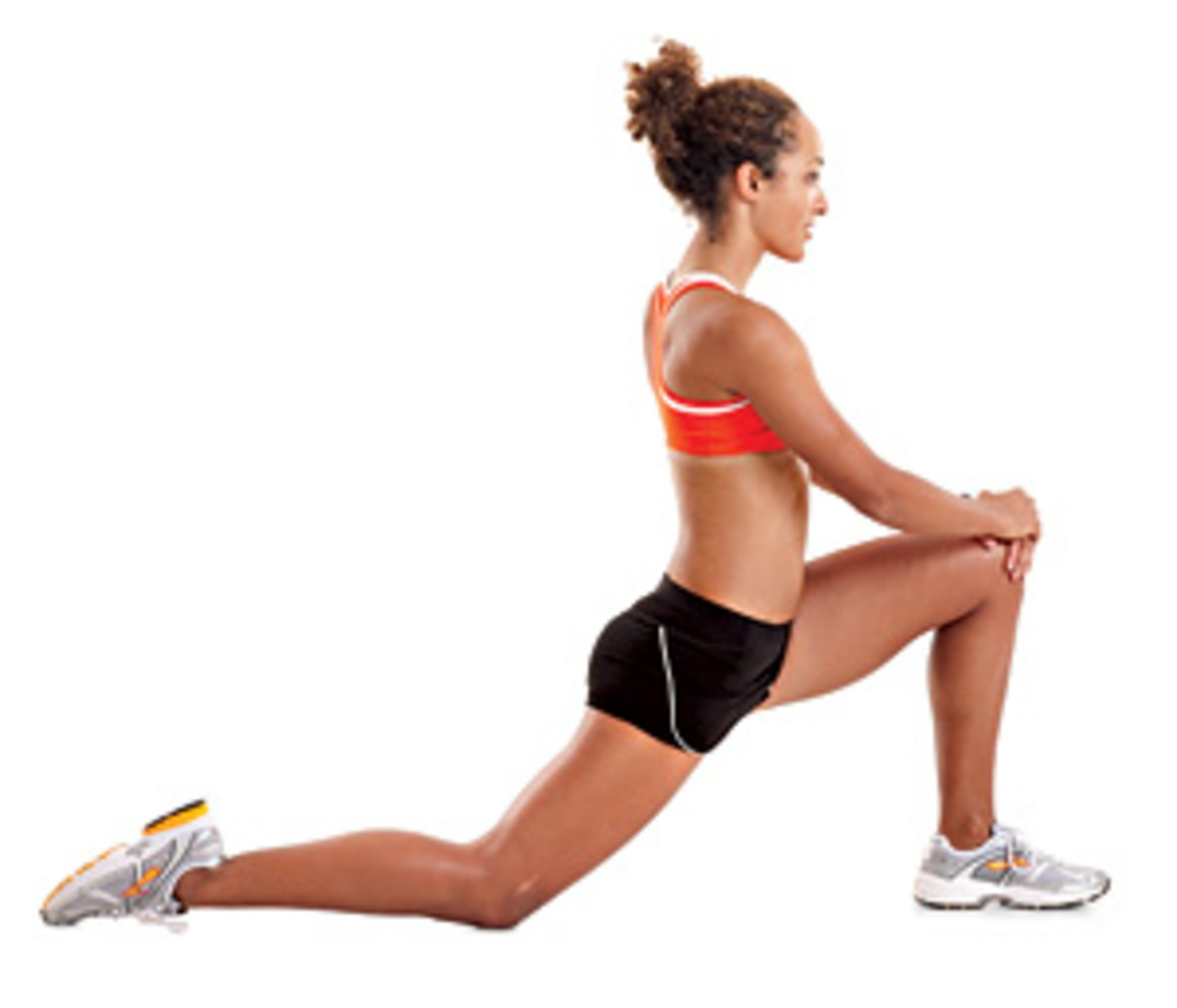 Lunge Stretch: Otherwise known as the hip flexor stretch. Stretches the muscles in front of the pelvis.