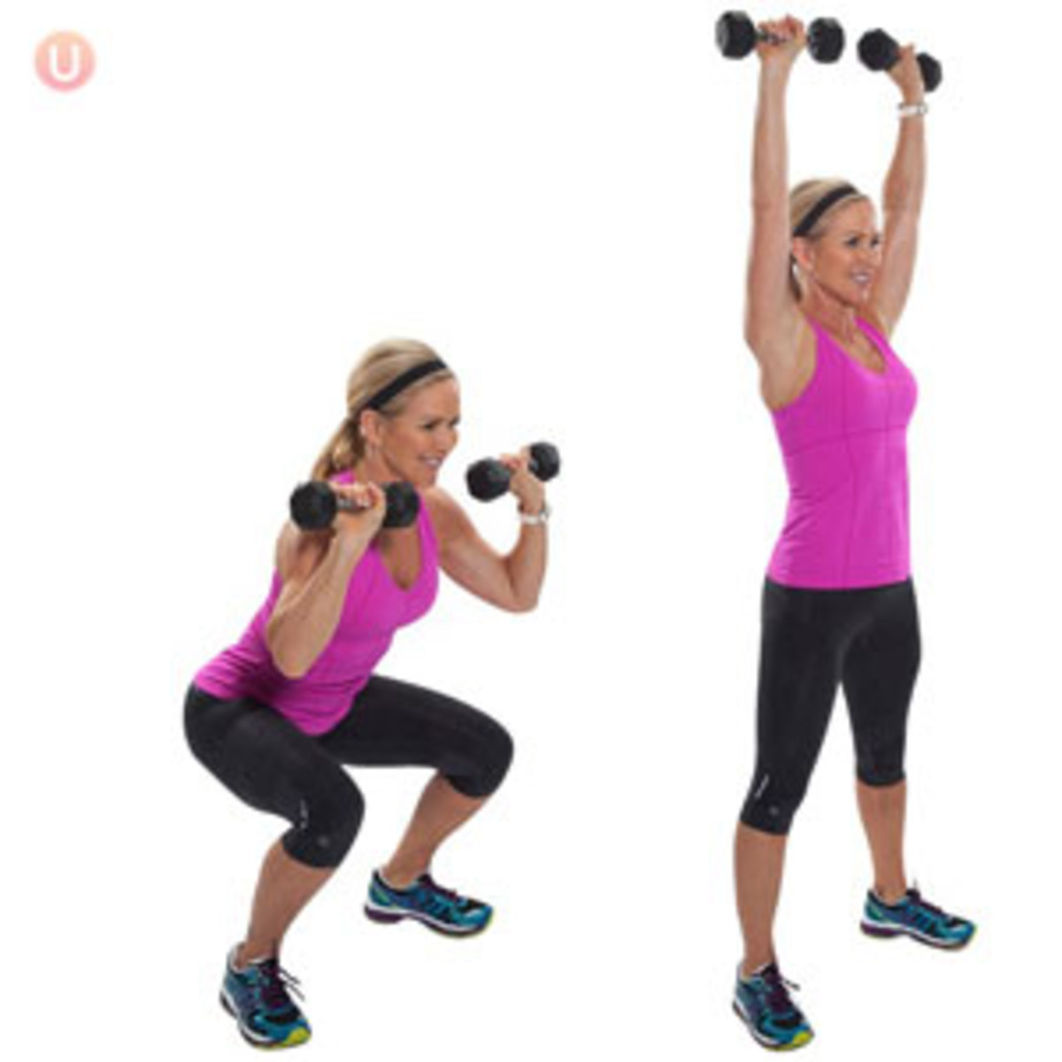 Thrusters: A lower- and upper body explosive lift. It combines two exercises; the front squat and the push press, into one power movement. It may be conducted using either a barbell or dumbbells.