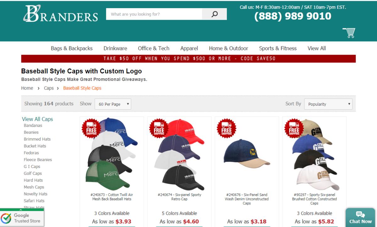 Branders Headwear Webpage