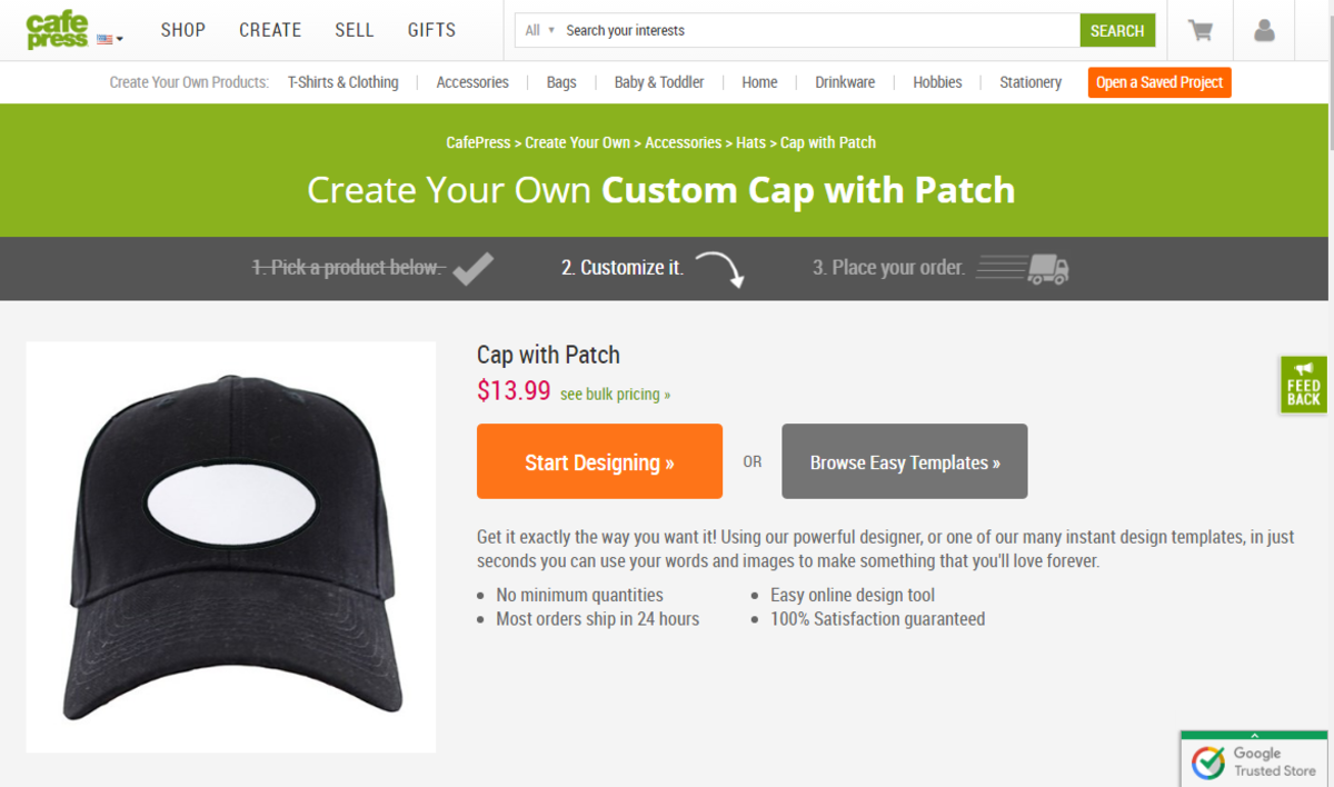 CafePress Custom Hats Webpage