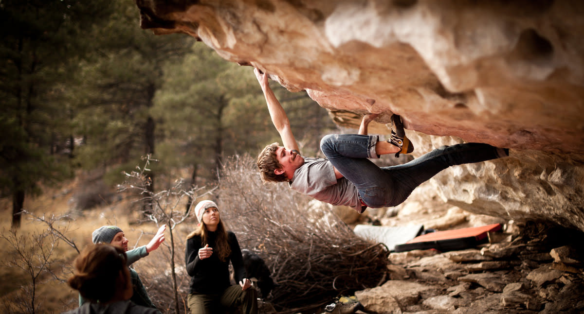 Bouldering or climbing outside has many health and fitness benefits.