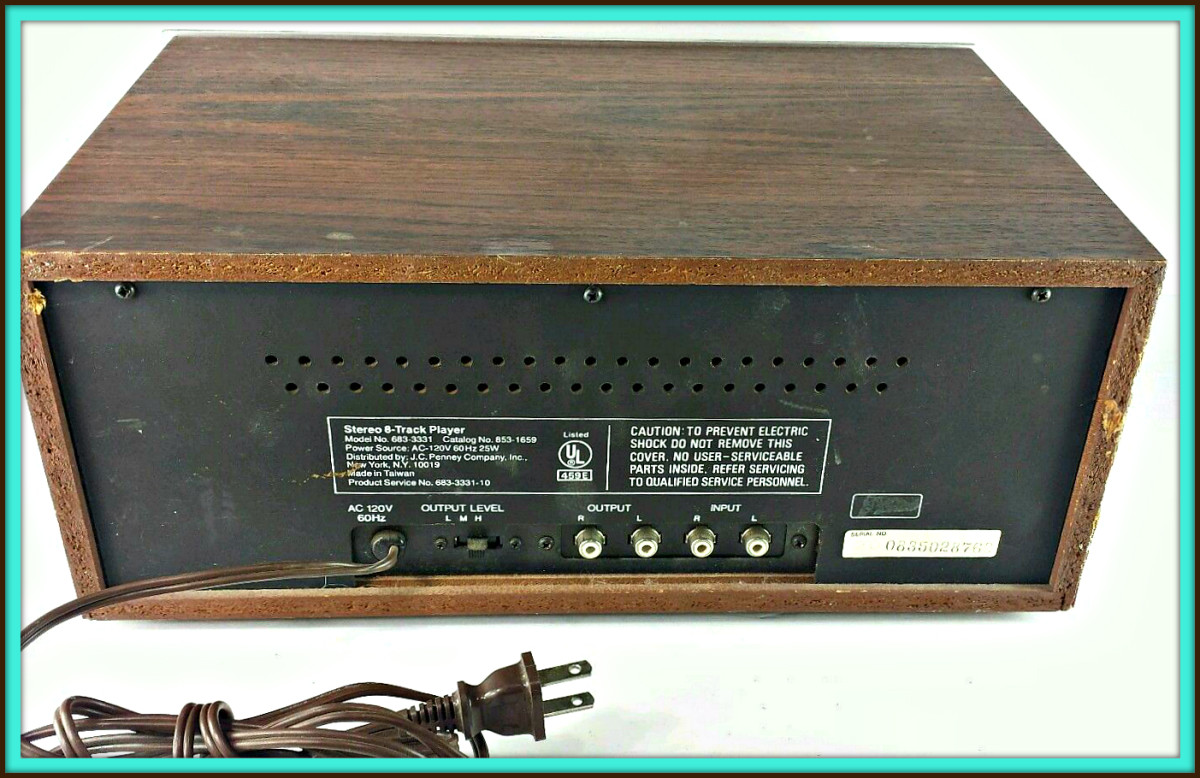 The back of a JC Penney 8 Track Player Recorder, Model MCS 3331