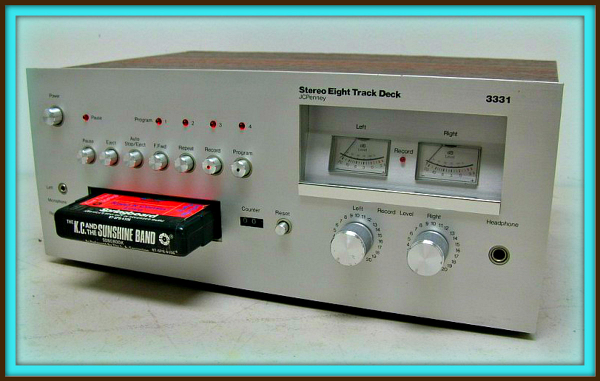 This is the JC Penney Stereo Eight deluxe Track Deck 3331, She measures 14 inches  across, and is  6 inches tall, and 9 inches deep this is including the knobs ...