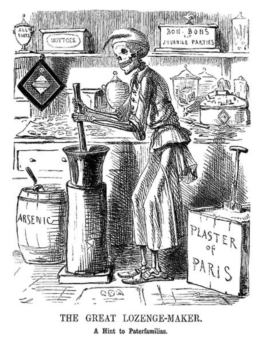 A caricature by John Leech, published in Punch magazine in November 1858, illustrating the Bradford poisoning case.