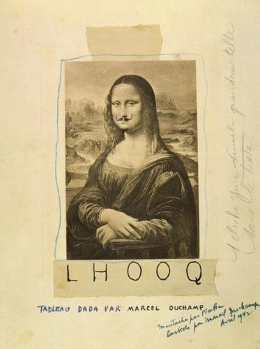 "Marcel Duchamp's 1919 parody of the piece titled ""L.H.O.O.Q, Mona Lisa With Mustache"" L.H.O.O.Q. is a French pun; the letters pronounced in French sound like ""Elle a chaud au cul,"" which translates to ""She is hot in the arse"""