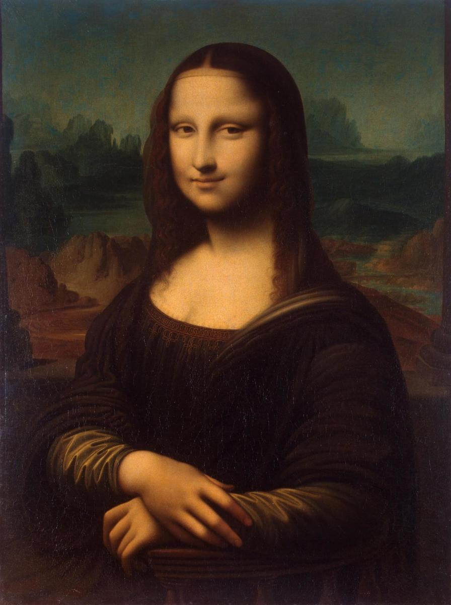 """Mona Lisa"" Leonardo Da Vinci, 1503; 77 x 53 cm, oil on panel"
