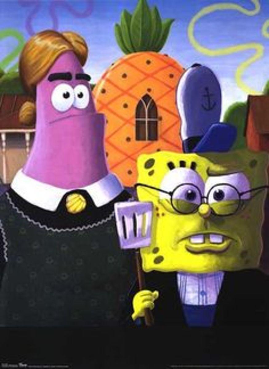 SpongeBob inspired parody of American Gothic