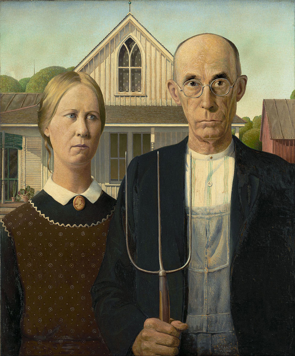 """American Gothic"" Grant Wood 1930; 78 x 65.3 cm, oil on board"