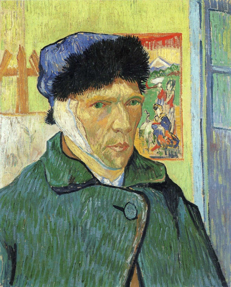 """Self-Portrait with Bandaged Ear"" Vincent Van Gogh, 1889; 60 x 49 cm, oil on canvas"