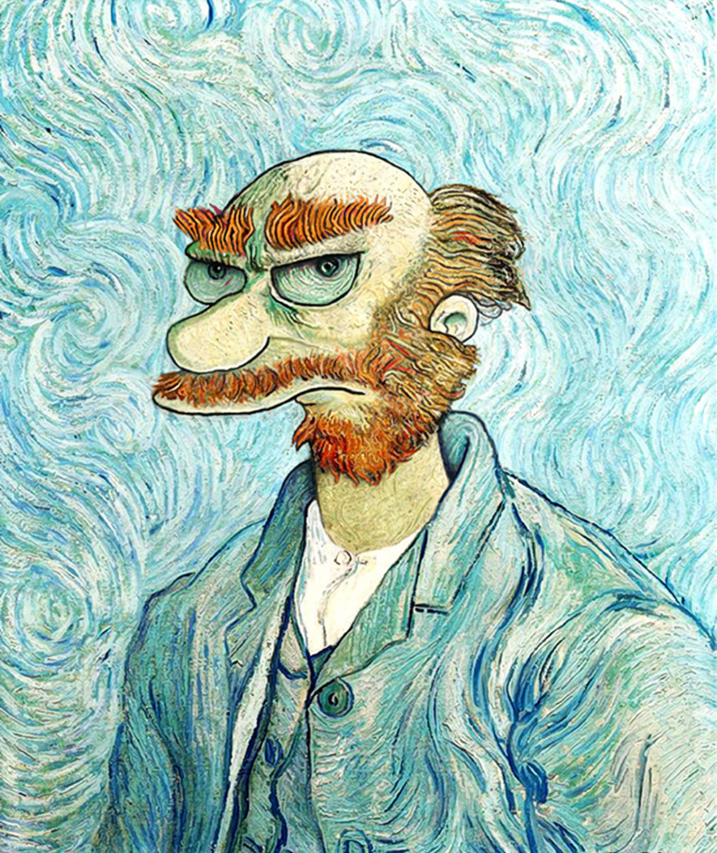 Groundskeeper Willie from the Simpsons as Van Gogh painted by David Barton