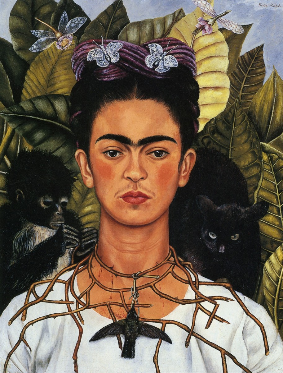 """Self-Portrait with Thorn Necklace and Hummingbird"" Frida Kahlo, 1940; 61.25 x 47 cm, oil on canvas"