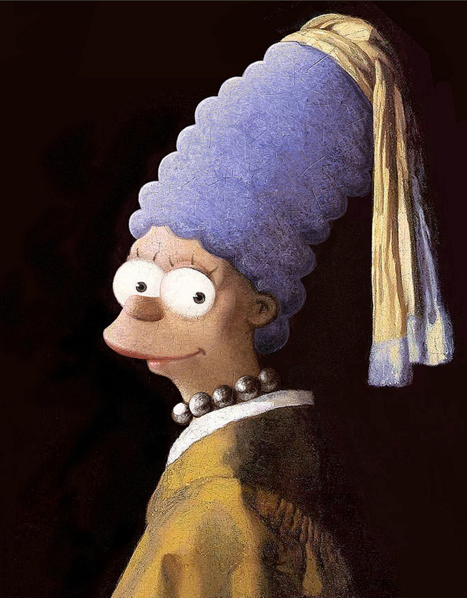 Marge Simpson as the Girl with the Pearl Earring painted by David Barton