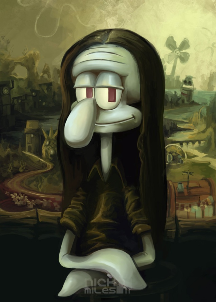 Squidward inspired parody of the Mona Lisa