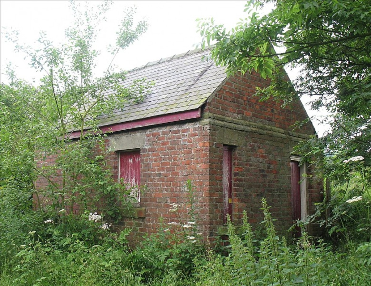Scattered about East Cleveland (The original's in North Yorkshire) are reminders of past railway routes and installations. This is a Cleveland Railway brick signal cabin close by the North Eastern Railway's Pinchinthorpe Station, near Guisborough
