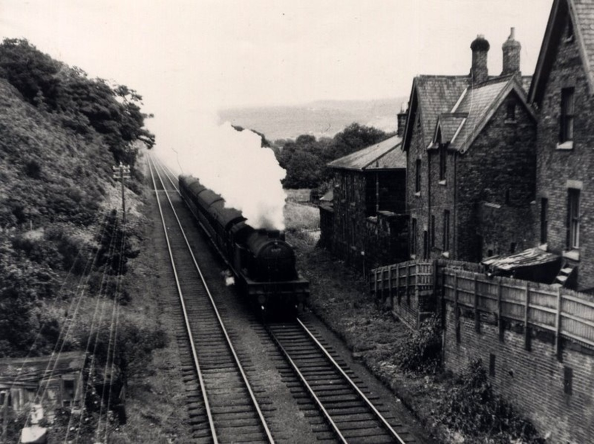 Class V1/V3 2-6-2 tank locomotive brings a short passenger working from the Boosbeck direction past Slapewath on the former Cleveland Railway Guisborough-Loftus line