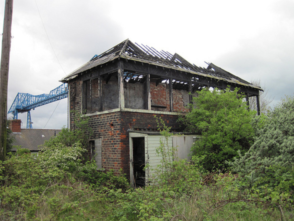 Overshadowed by the Transporter Bridge, across the Tees in former WHH&R territory, the ruin of the North Eastern Railway's Central Division Port Clarence signal cabin. Time is the giant killer!