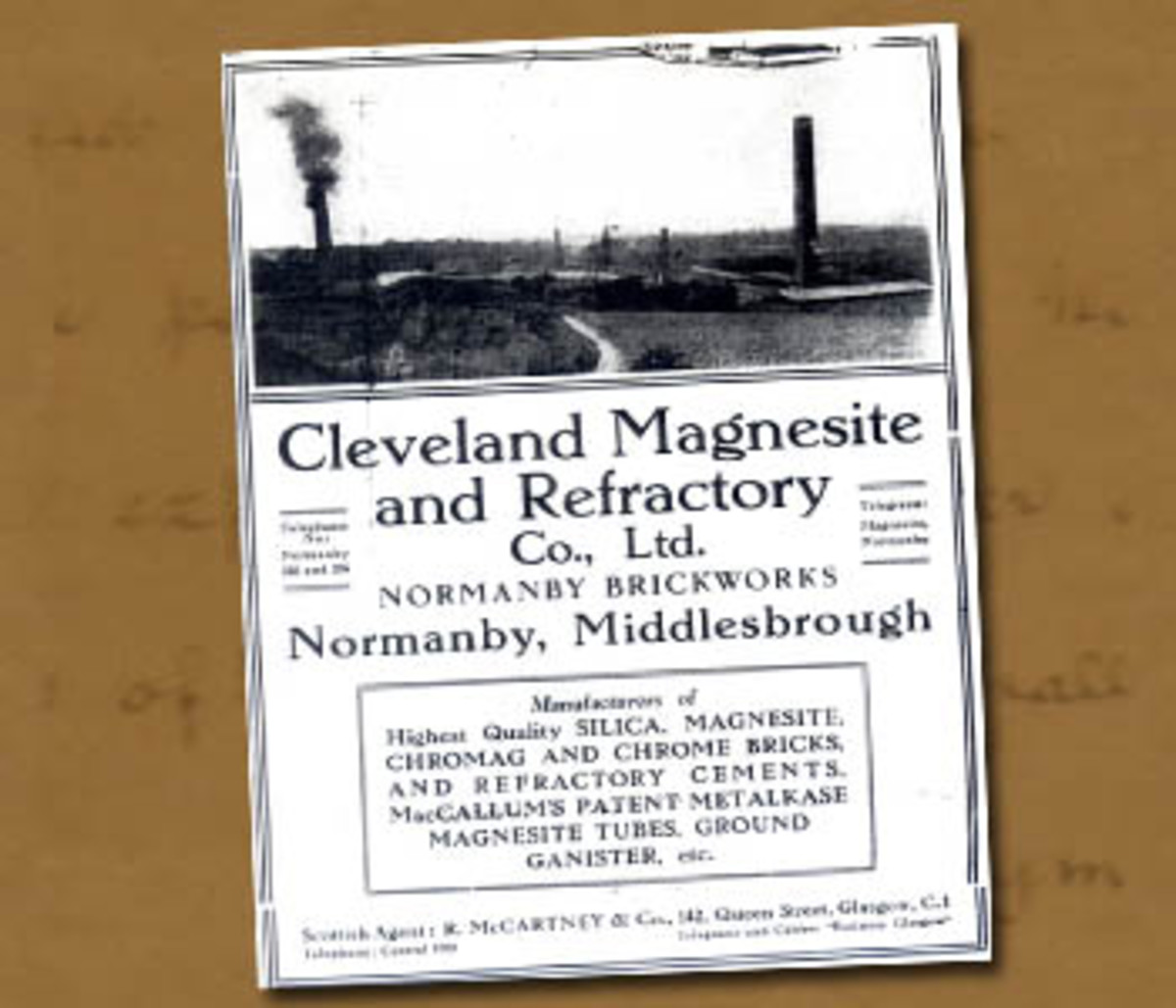 A flyer advertises the products made at Normanby in 1901