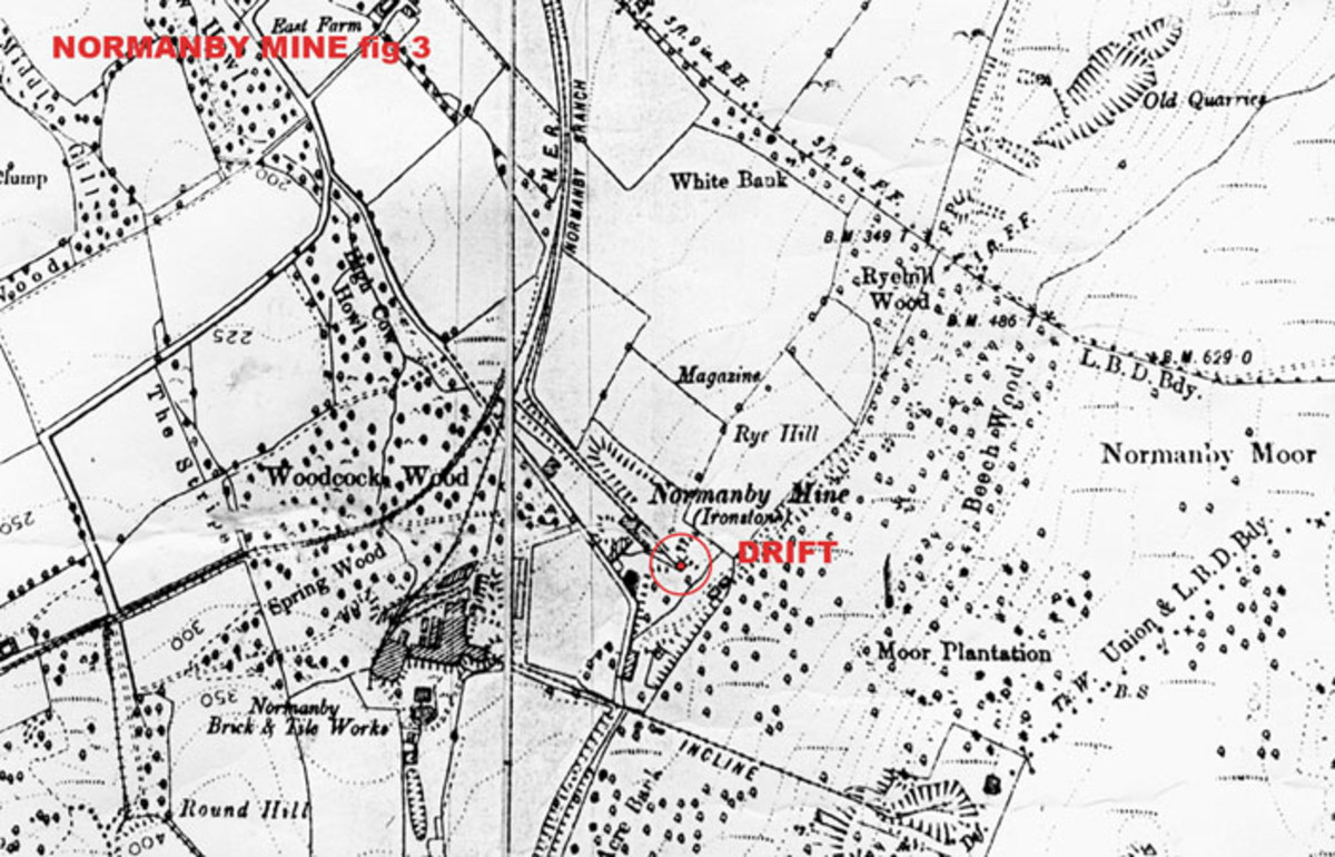 Ordnance survey section shows Normanby Brickworks and neighbouring ironstone mine workings near the foot of the 'saddle' over which the Cleveland Railway passed by rope-worked or self-acting incline. There's a country park and centre here now