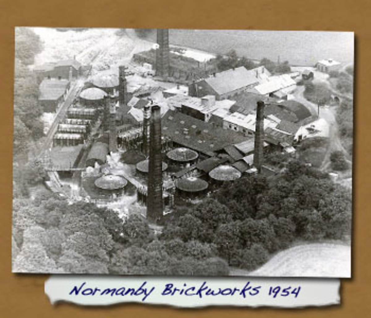 An aerial view of Normanby Brickworks beside the Cleveland Railway's branch in the mid-1950s - next door neighbours worked there until closure in the mid-1960s