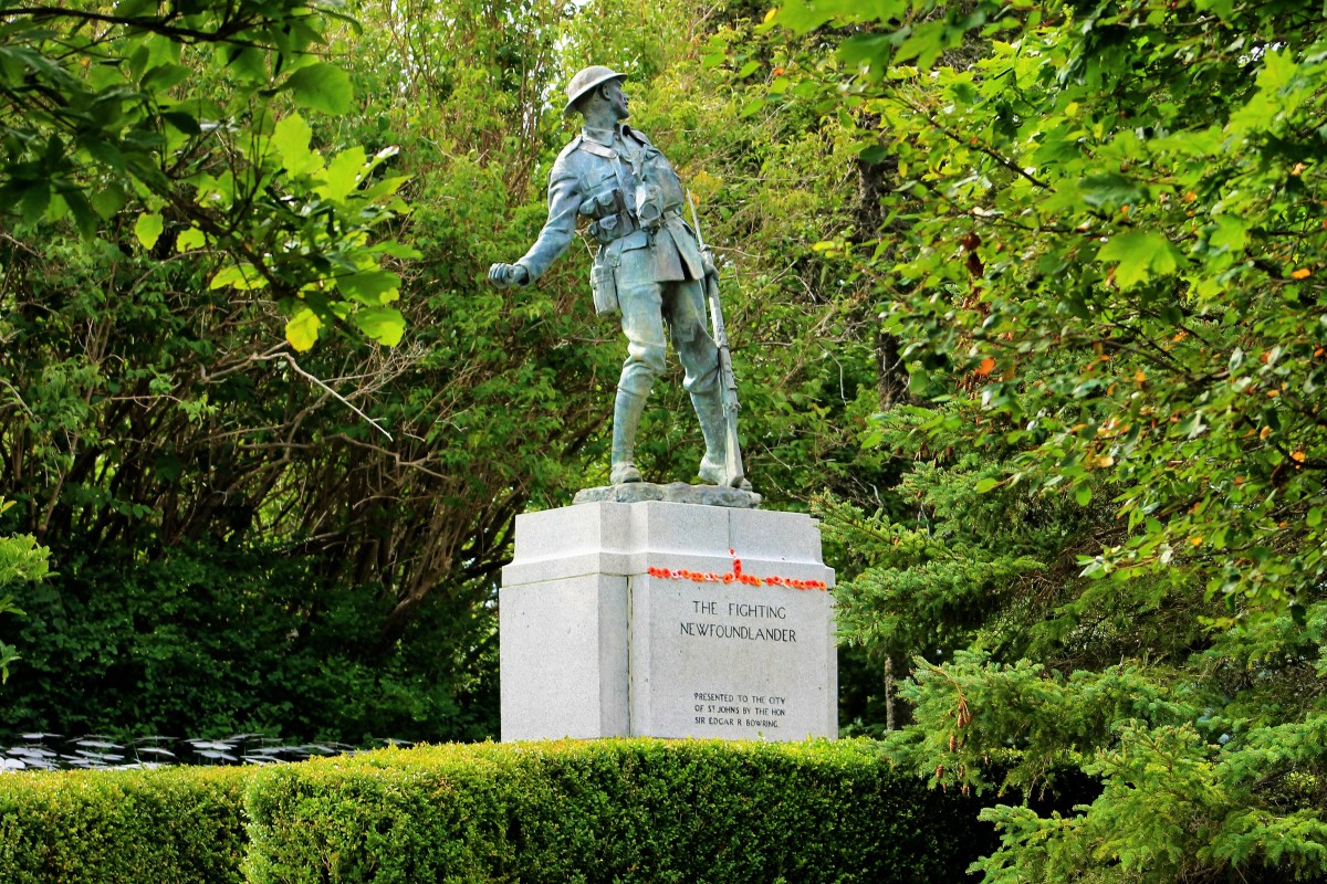 The Fighting Newfoundlander, donated to the park by Sir Edgar Bowring in honour of the incredible sacrifices made by the Royal Newfoundland Regiment in WWI.