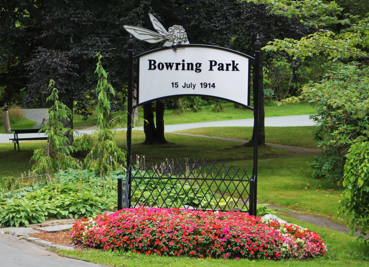 The Bowring Park sign that greets visitors at the park's east entrance.