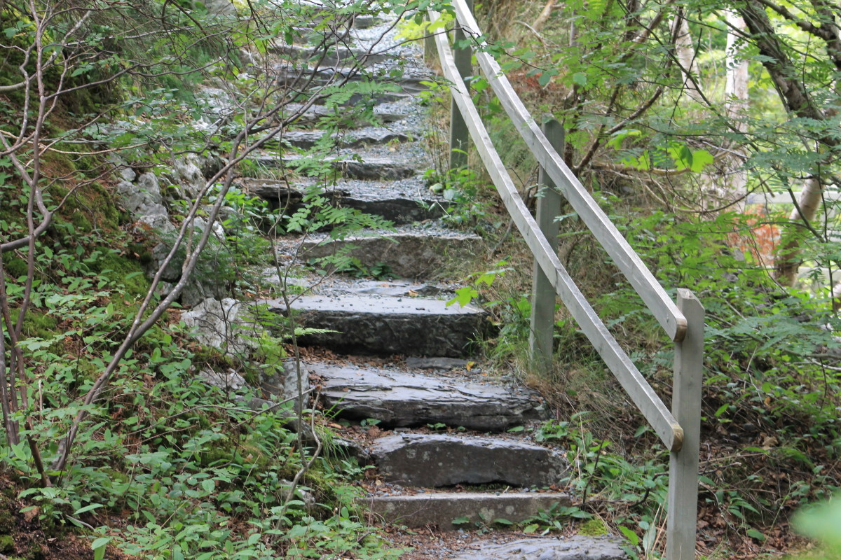 A stone staircase connects two trails.