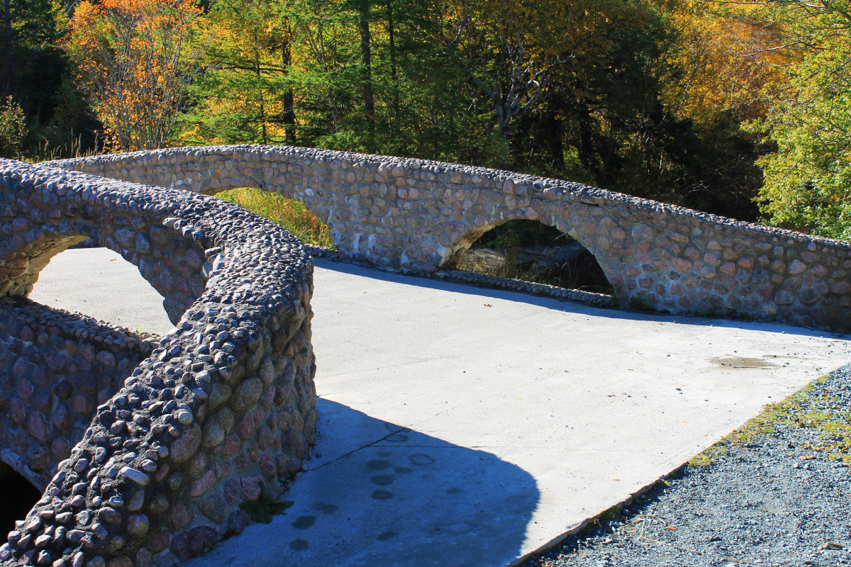 The historic Cobble Stone bridge that crosses South Brook River. Nicknamed Lovers Bridge, legend says that kissing one's significant other on this bridge means that you will marry. This area was also the site of the original Bowring Park swimming poo