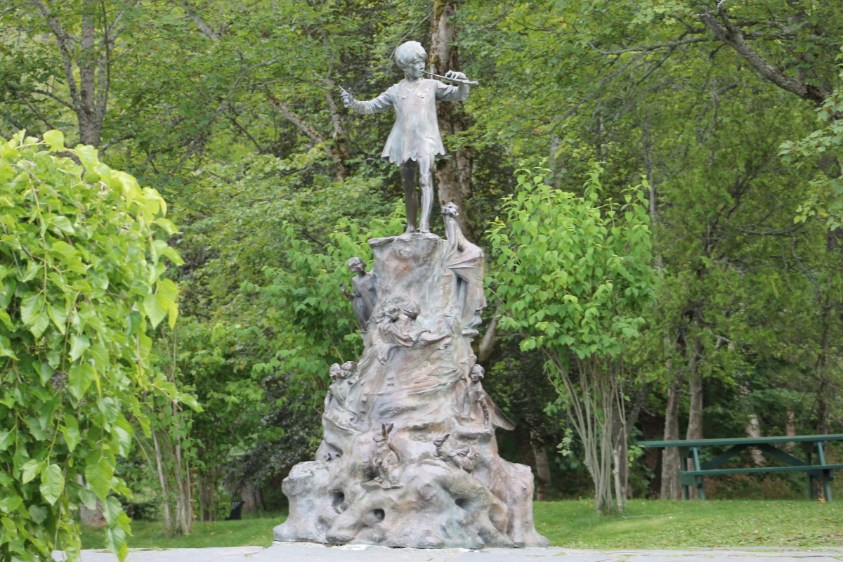 The Peter Pan Statue in Bowring Park, erected by Sir Edgar Bowring in memory of his granddaughter.