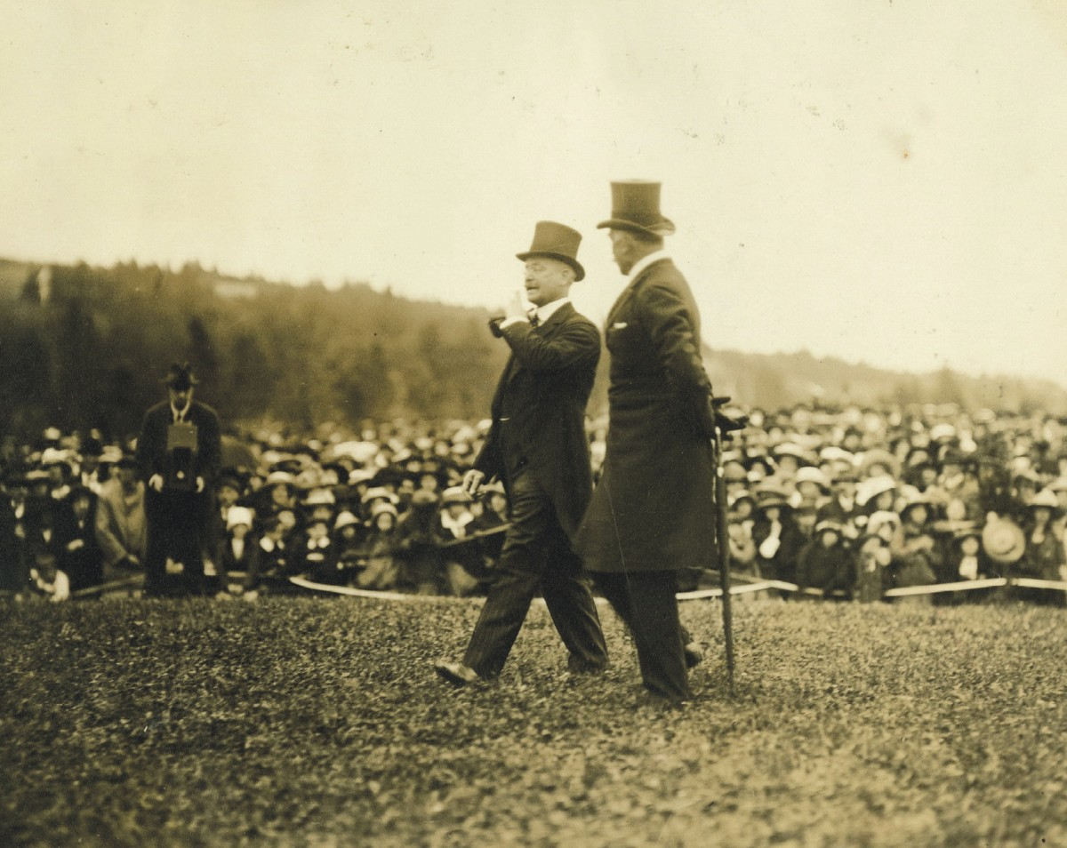 Sir Edgar Bowring and the Duke of Connaught at the official opening of Bowring Park, July 15, 1914.
