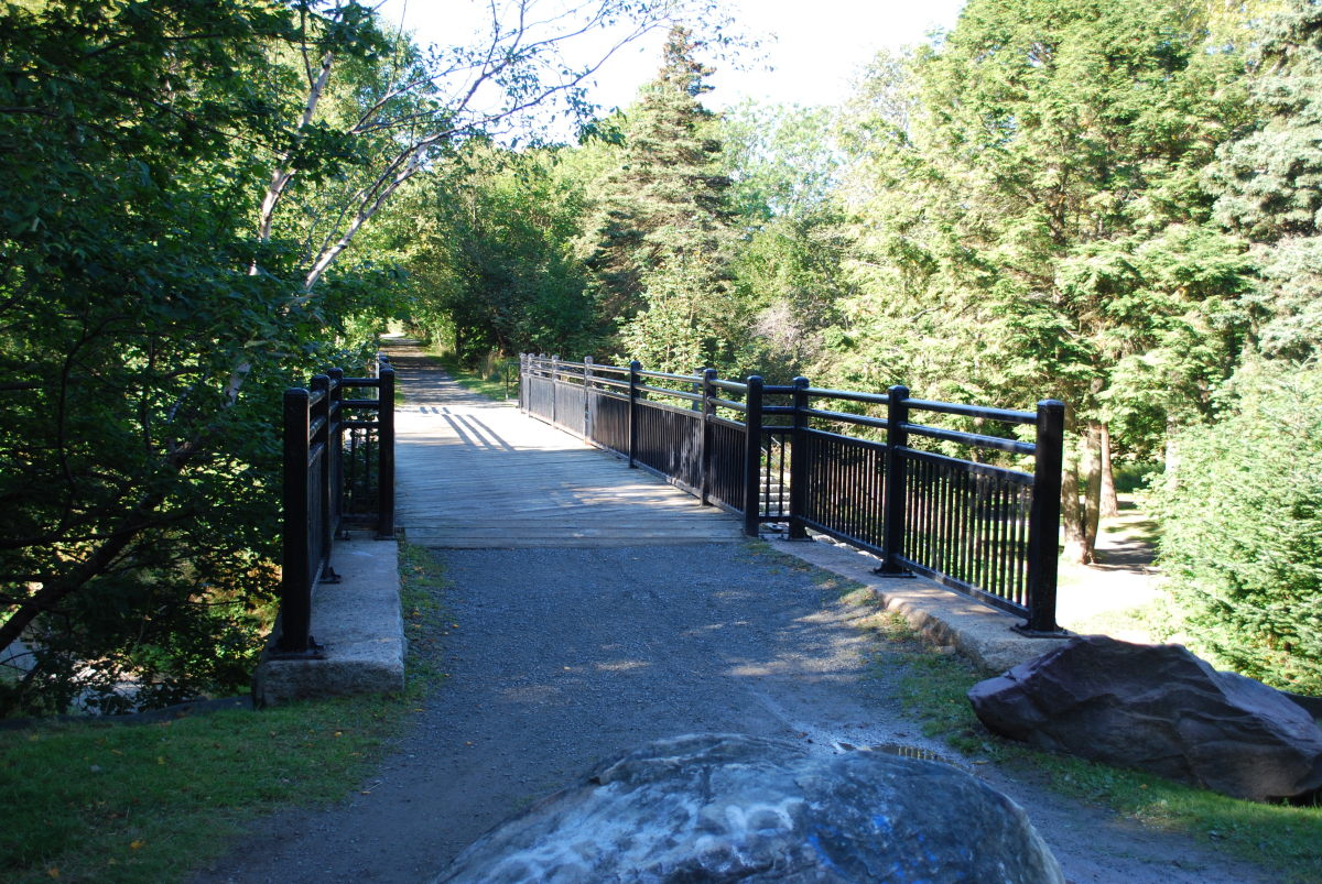 This bridge, that crosses South Brook River at the south end of the duck pond, was once part of the Newfoundland Railway.