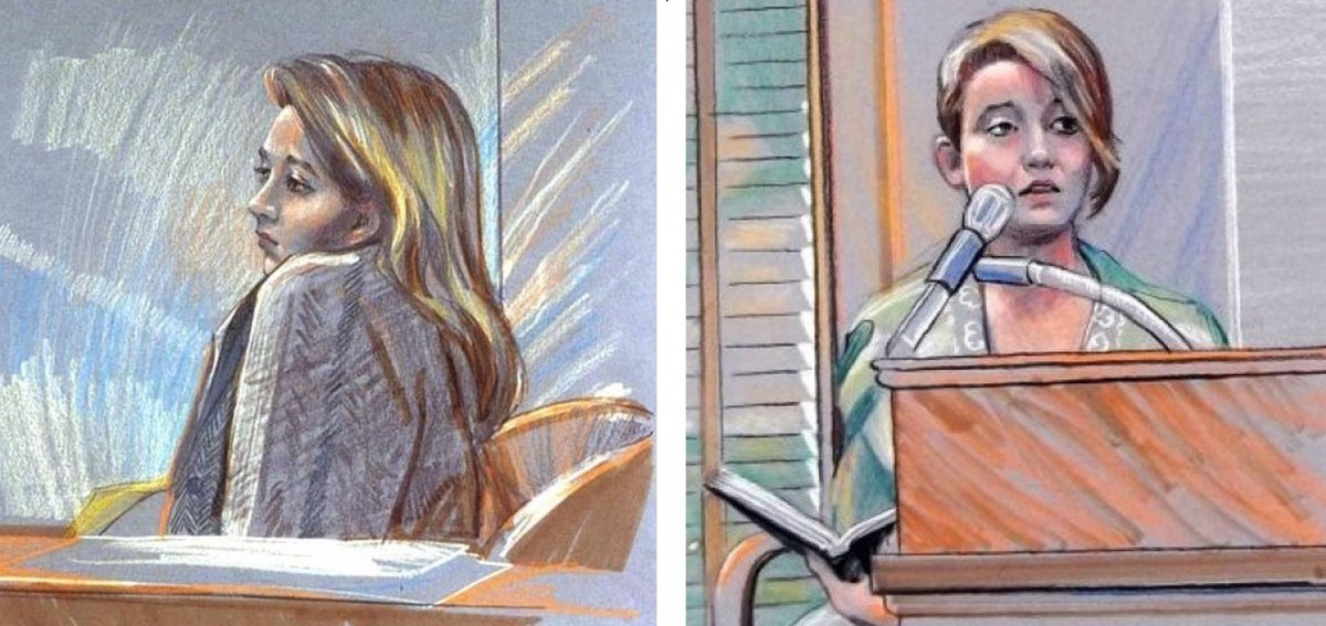 Courtroom sketches of Darlie Routier on trial. She holds her diary (right) and is explaining her thoughts of suicide she wrote about in the diary about a month before the murders of Devon and Damon.