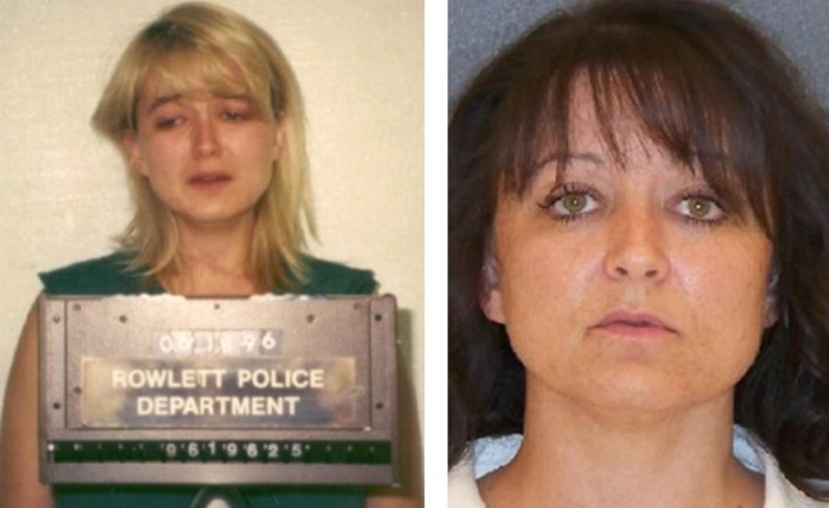 Darlie Routier arrest photo (left) More recent prison photo (right)