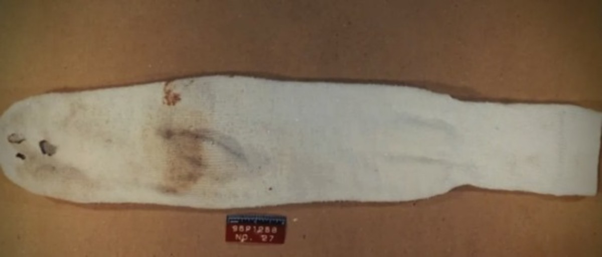 Close up of sock showing Damon and Devin's blood on it