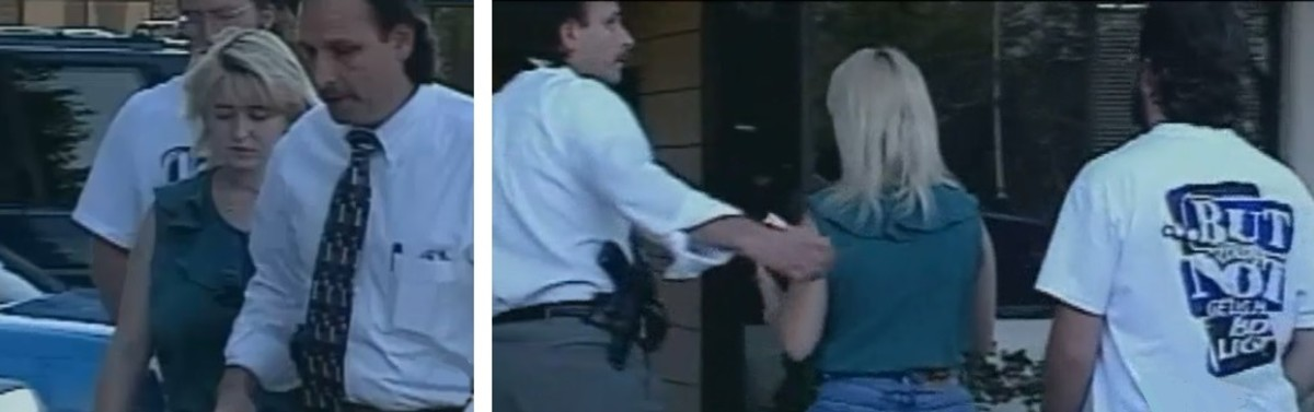Darlie and Darin Routier going into the Rowlett Police Department for more questioning. These photos were taken just hours before she was formally arrested and charged with a double homicide.