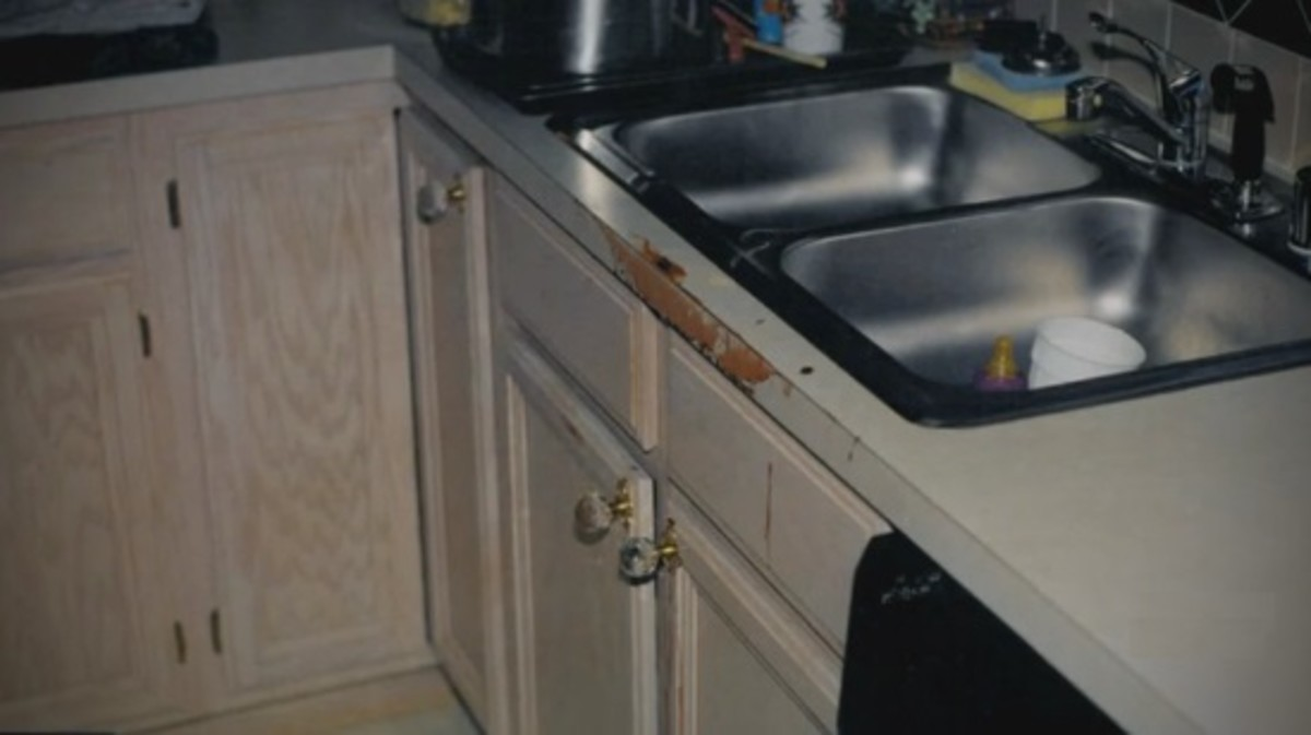 The kitchen sink in the Routier home
