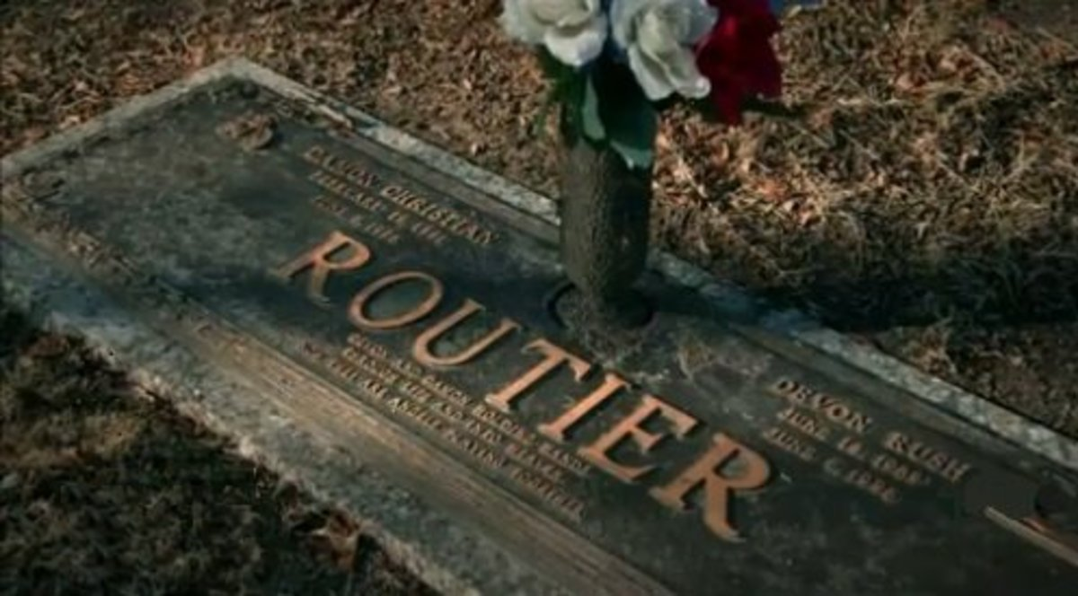Damon and Devon Routier's grave marker
