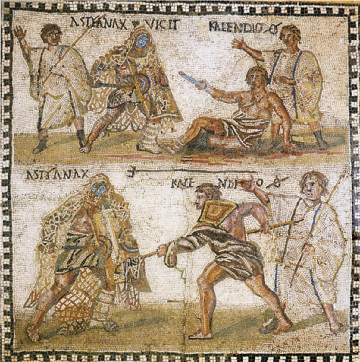 Two venatores fighting a tiger (5th century CE mosaic in the Great Palace of Constantinople)