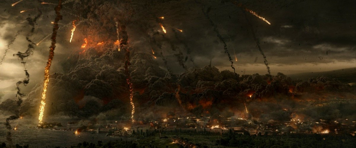 The  79 AD eruption of Vesuvius, as envisioned in the movie Pompeii. (©2014 Constantin Film International GmbH and Impact Pictures (Pompeii) Inc.)