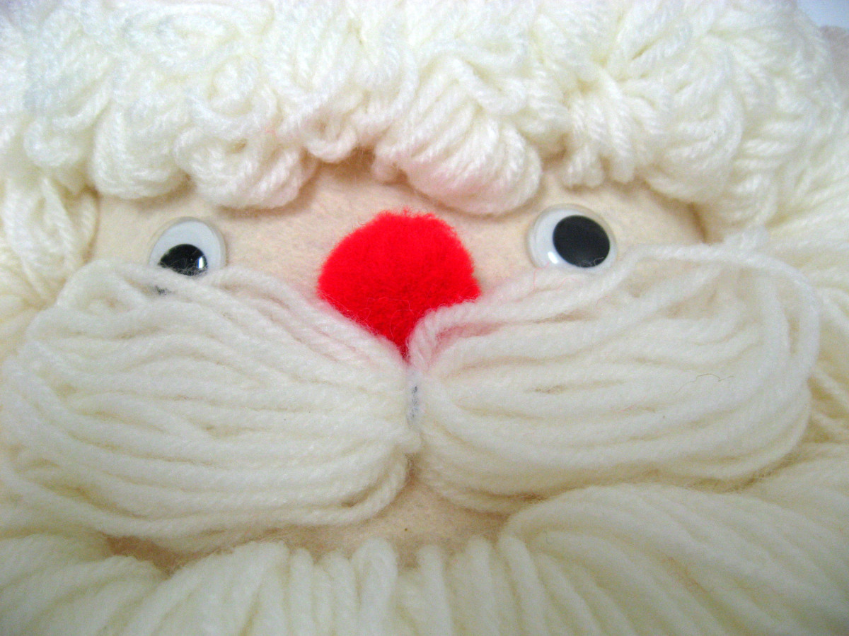Note the wiggley eyes, the red pom-pom nose.