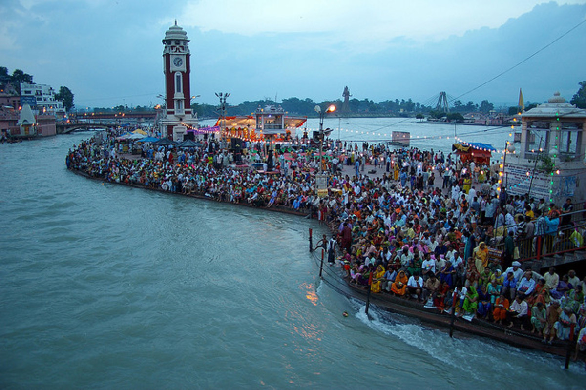 Hindu Devotees Gathering at Har ki Pouri - Haridwar