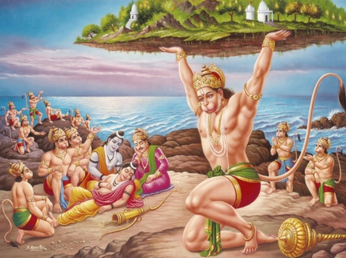 The Lord Hanuman, with the mountain of herb Sanjeevani Buti