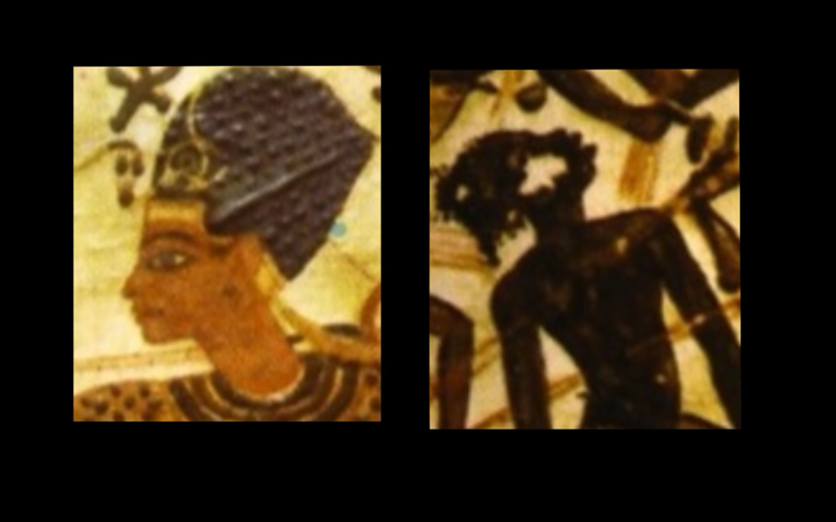 Look very closely and you can see the facial image of the Nubians is the same as the Nubian slave above. These photos also depict the Egyptians with straight hair and light brown skin.
