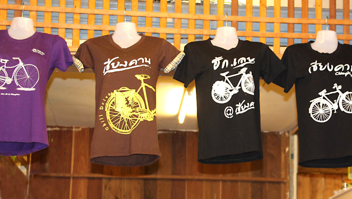 Bicycle themed T-Shirts are on display in every shop that sells clothes