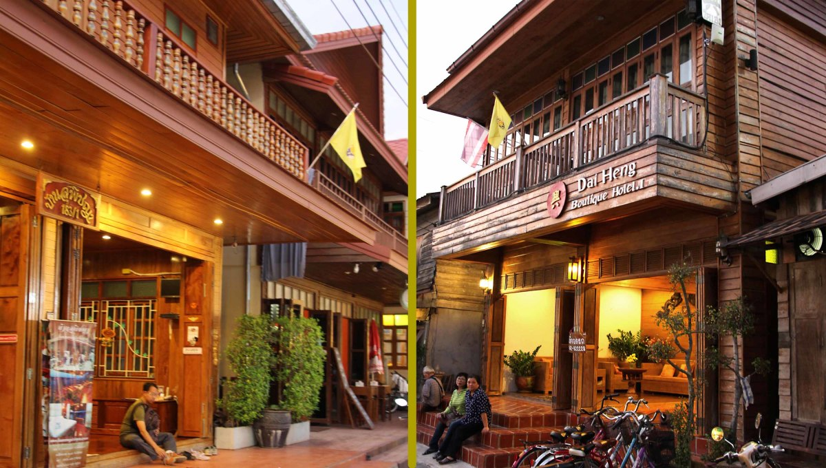 Two of the old, yet renovated, guesthouses on the Walking Street