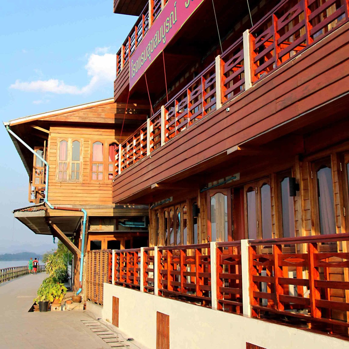 The promenade along the bank of the Mekong - separated from the Walking Street by hotels, restaurants and shops.
