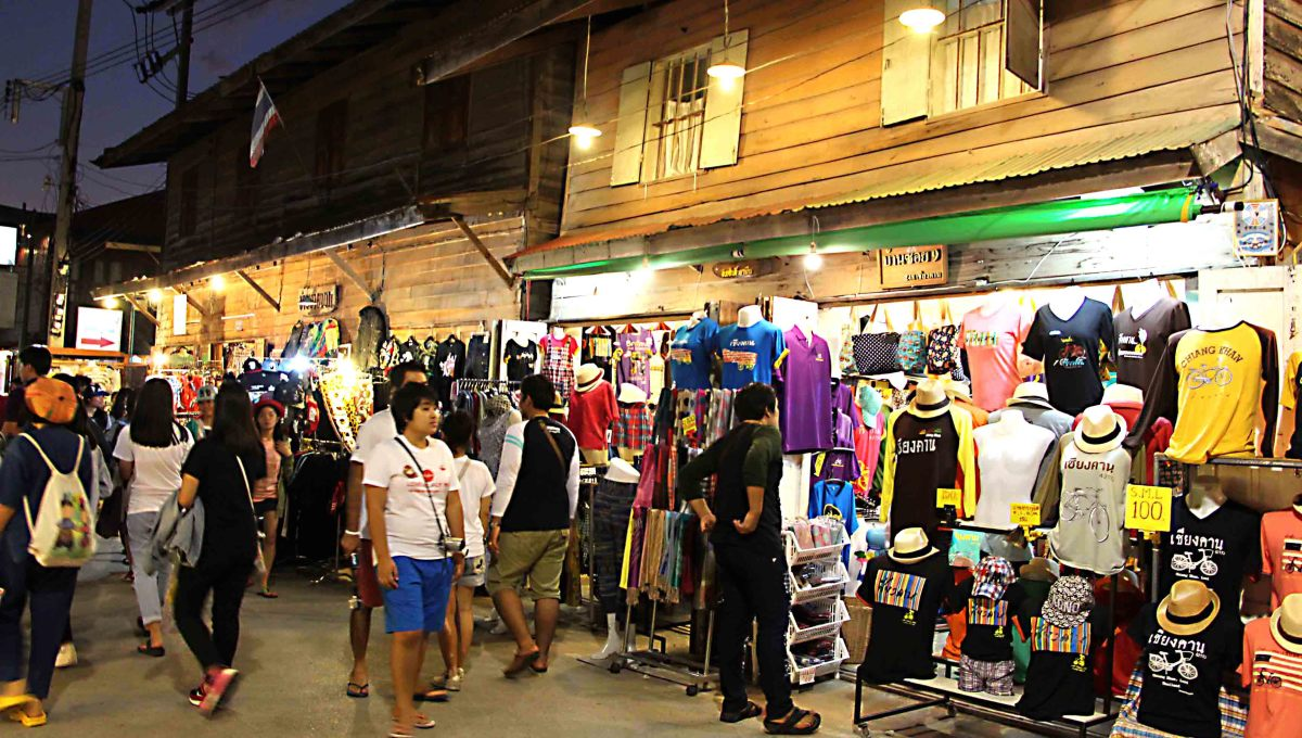 Street stalls selling a variety of merchandise come alive at night