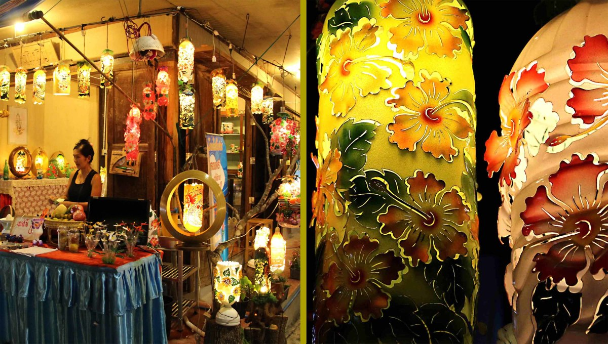On the left - a shop selling ornamental lamps fashioned out of plastic bottles! On the right - two examples created in front of the customer. The artistic tools necessary to try out this unusual craft form yourself can also be bought here