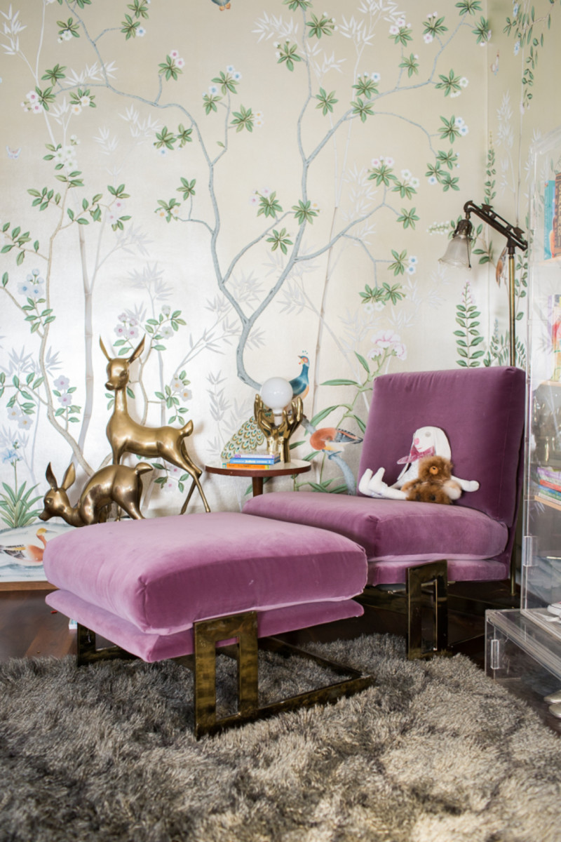 Milo Baughman brass & purple feature chair.